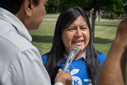 Silvia Lopez speaks with reporters outside of the Fifth District Court of Appeals in Fresno.